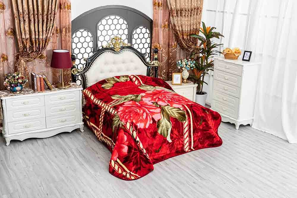Plush Soft Warm 2 Side Printed Raschel Bed Blankets King Size